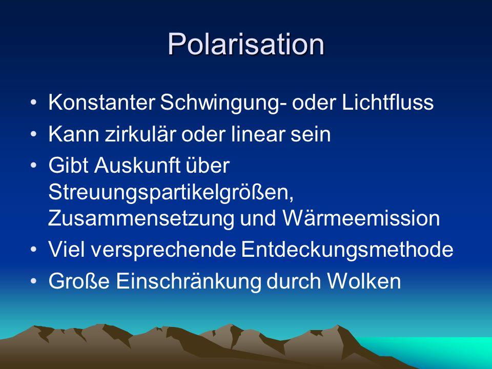 Polarisation Konstanter Schwingung- oder Lichtfluss Kann zirkulär oder linear sein Gibt Auskunft über Streuungspartikelgrößen, Zusammensetzung und Wärmeemission Viel versprechende Entdeckungsmethode Große Einschränkung durch Wolken