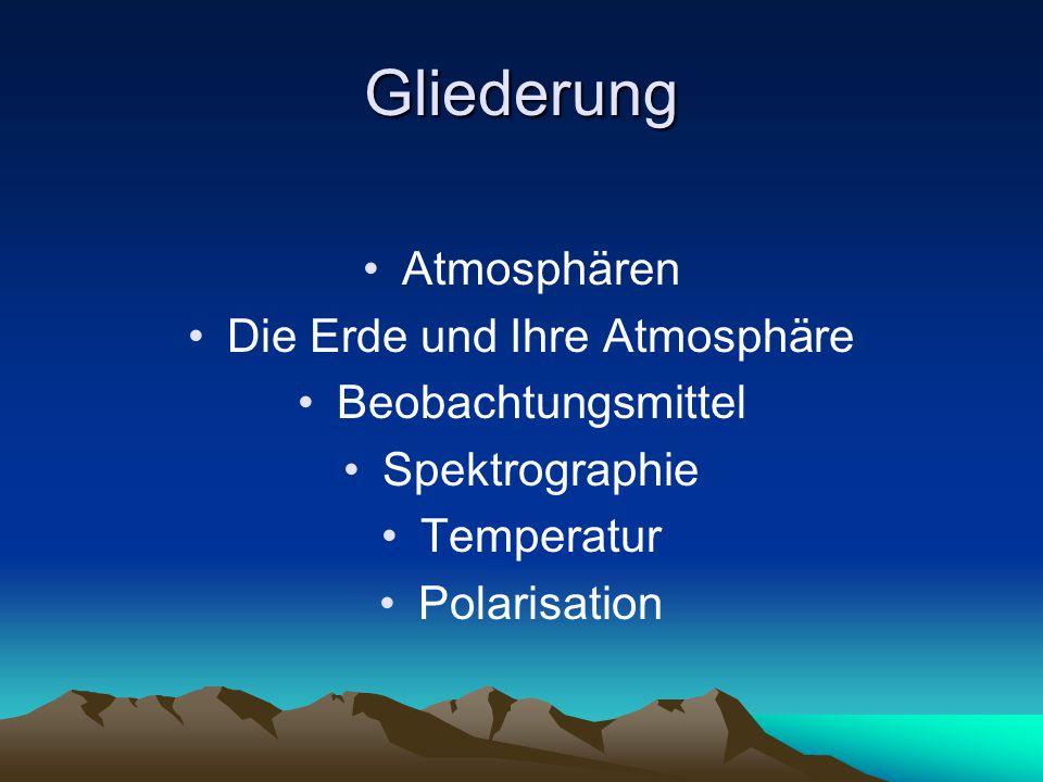 Gliederung Atmosphären Die Erde und Ihre Atmosphäre Beobachtungsmittel Spektrographie Temperatur Polarisation