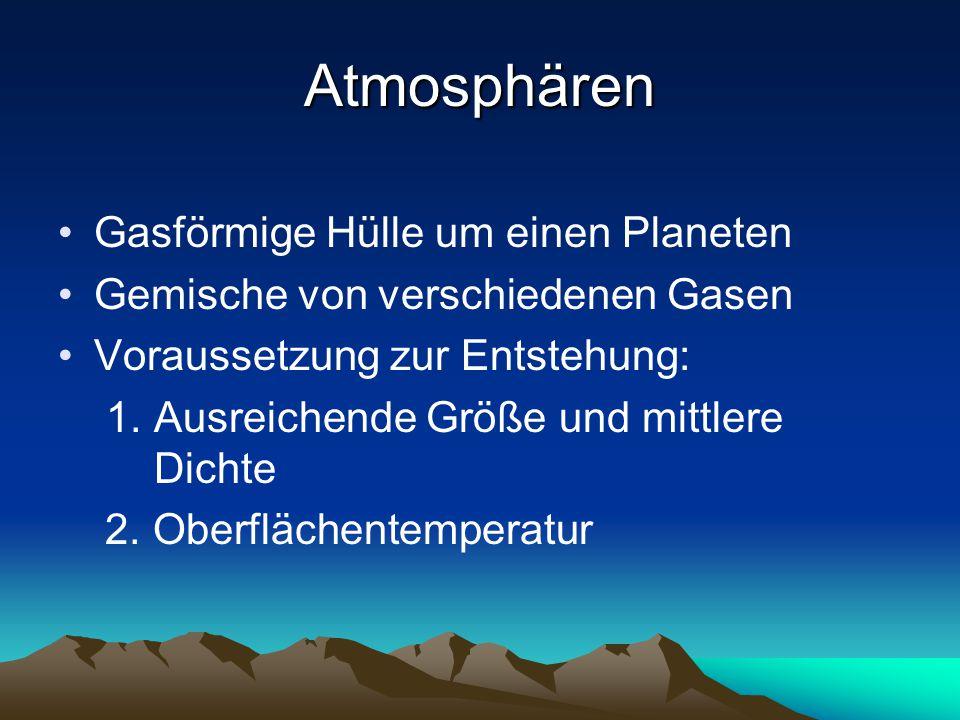 Atmosphären Gasförmige Hülle um einen Planeten Gemische von verschiedenen Gasen Voraussetzung zur Entstehung: 1. Ausreichende Größe und mittlere Dicht