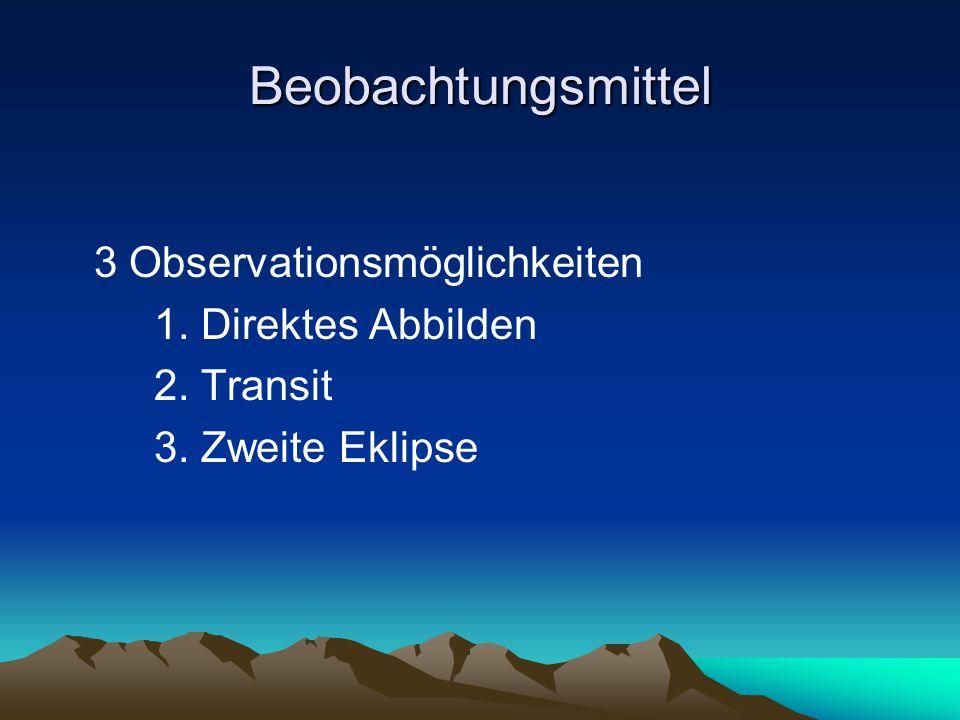 Beobachtungsmittel 3 Observationsmöglichkeiten 1. Direktes Abbilden 2. Transit 3. Zweite Eklipse