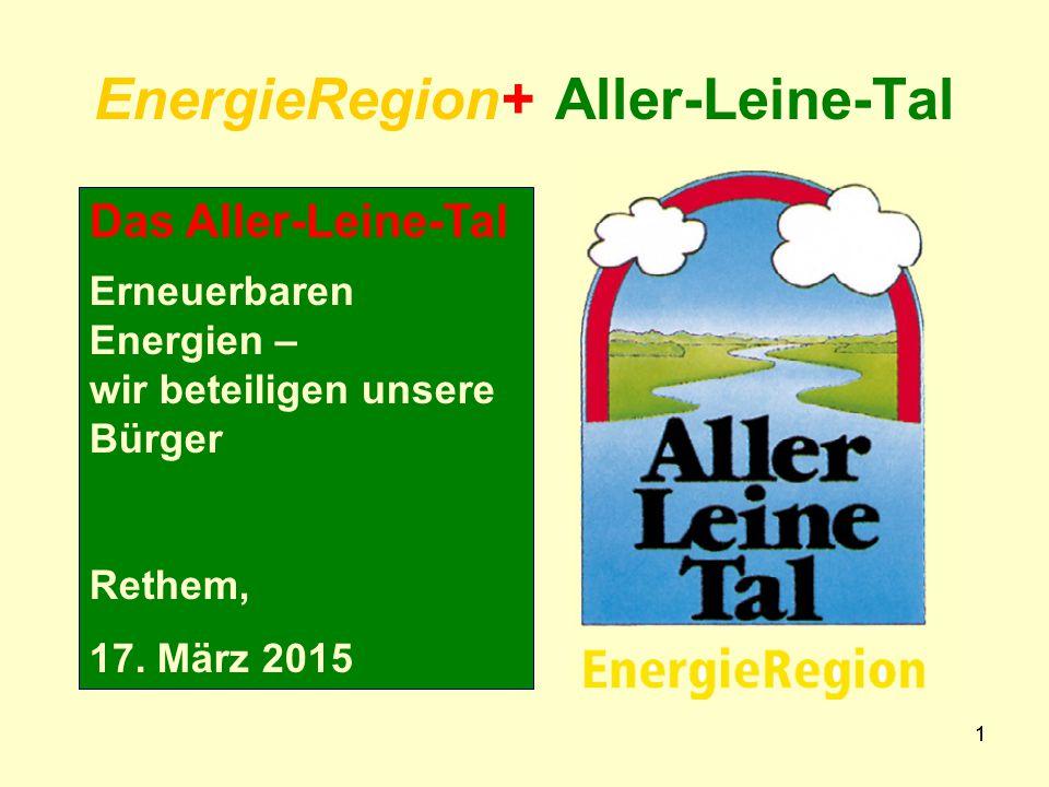11 EnergieRegion+ Aller-Leine-Tal Das Aller-Leine-Tal Erneuerbaren Energien – wir beteiligen unsere Bürger Rethem, 17.
