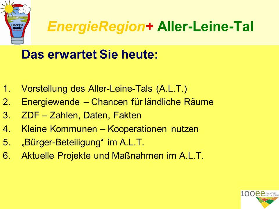 """EnergieRegion+ Aller-Leine-Tal Das erwartet Sie heute: 1.Vorstellung des Aller-Leine-Tals (A.L.T.) 2.Energiewende – Chancen für ländliche Räume 3.ZDF – Zahlen, Daten, Fakten 4.Kleine Kommunen – Kooperationen nutzen 5.""""Bürger-Beteiligung im A.L.T."""