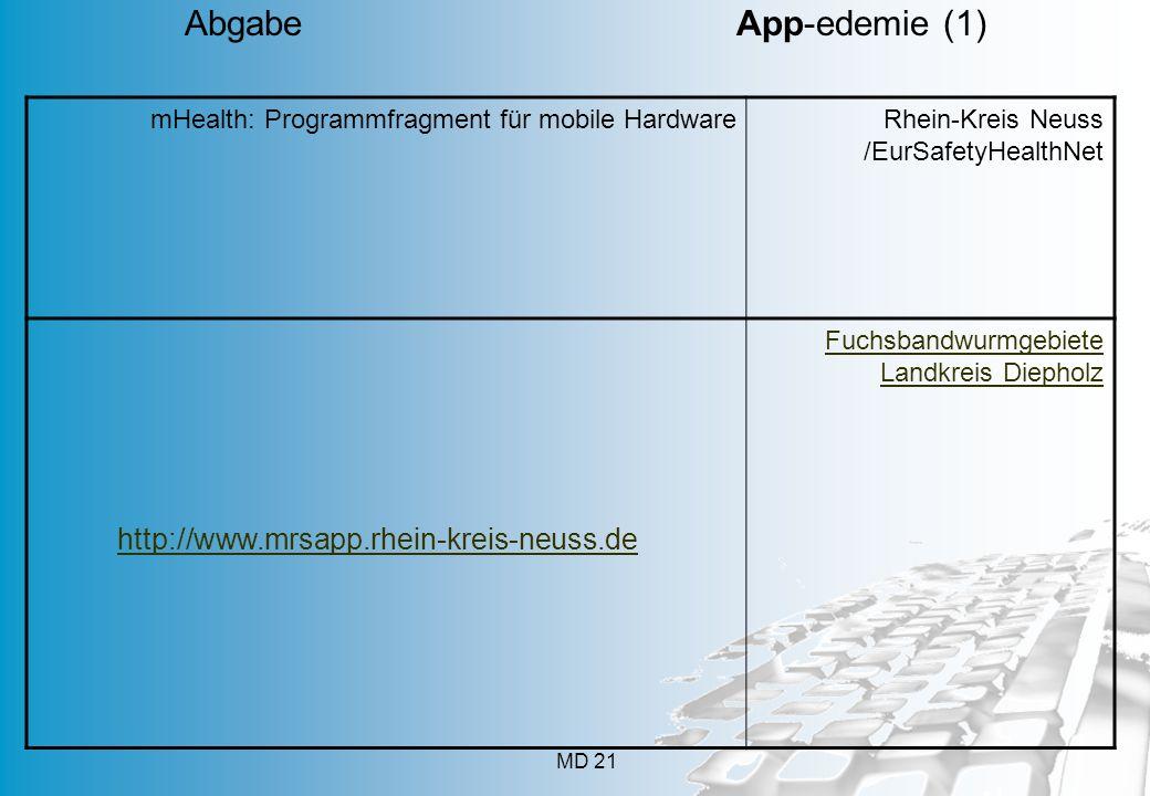 mHealth: Programmfragment für mobile HardwareRhein-Kreis Neuss /EurSafetyHealthNet Fuchsbandwurmgebiete Landkreis Diepholz MD 21 Abgabe App-edemie (1) http://www.mrsapp.rhein-kreis-neuss.de