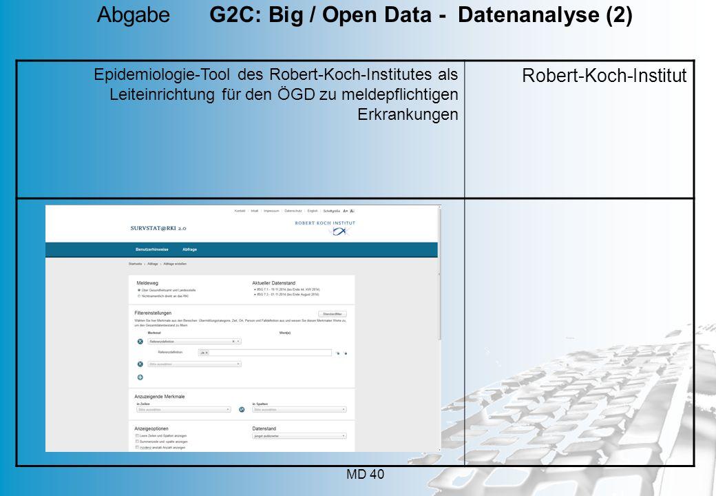 MD 40 Epidemiologie-Tool des Robert-Koch-Institutes als Leiteinrichtung für den ÖGD zu meldepflichtigen Erkrankungen Robert-Koch-Institut Abgabe G2C: Big / Open Data - Datenanalyse (2)