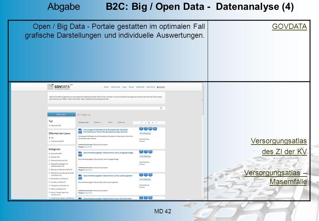 MD 42 Open / Big Data - Portale gestatten im optimalen Fall grafische Darstellungen und individuelle Auswertungen.
