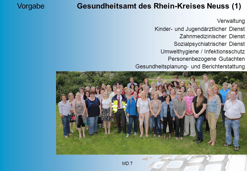 MD 7 Vorgabe Gesundheitsamt des Rhein-Kreises Neuss (1) Verwaltung Kinder- und Jugendärztlicher Dienst Zahnmedizinischer Dienst Sozialpsychiatrischer Dienst Umwelthygiene / Infektionsschutz Personenbezogene Gutachten Gesundheitsplanung- und Berichterstattung
