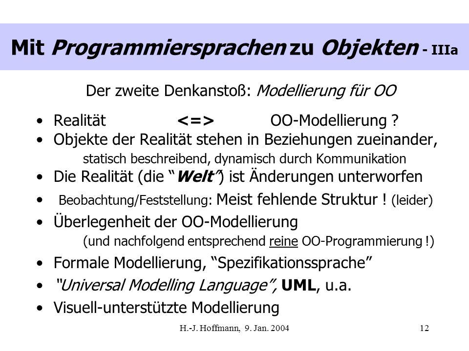 H.-J. Hoffmann, 9. Jan. 200412 Mit Programmiersprachen zu Objekten - IIIa Der zweite Denkanstoß: Modellierung für OO Realität OO-Modellierung ? Objekt