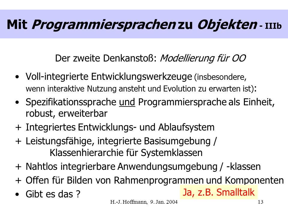 H.-J. Hoffmann, 9. Jan. 200413 Mit Programmiersprachen zu Objekten - IIIb Der zweite Denkanstoß: Modellierung für OO Voll-integrierte Entwicklungswerk