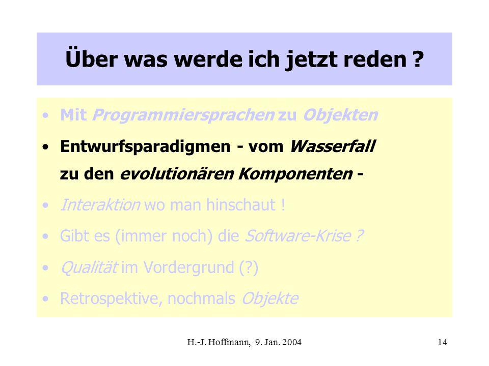 H.-J. Hoffmann, 9. Jan. 200414 Über was werde ich jetzt reden .