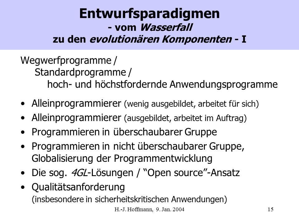 H.-J. Hoffmann, 9. Jan. 200415 Entwurfsparadigmen - vom Wasserfall zu den evolutionären Komponenten - I Wegwerfprogramme / Standardprogramme / hoch- u
