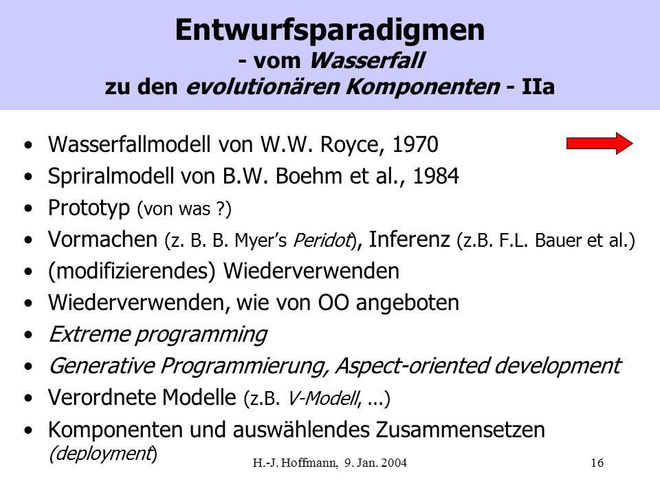 H.-J. Hoffmann, 9. Jan. 200416 Entwurfsparadigmen - vom Wasserfall zu den evolutionären Komponenten - IIa Wasserfallmodell von W.W. Royce, 1970 Sprira