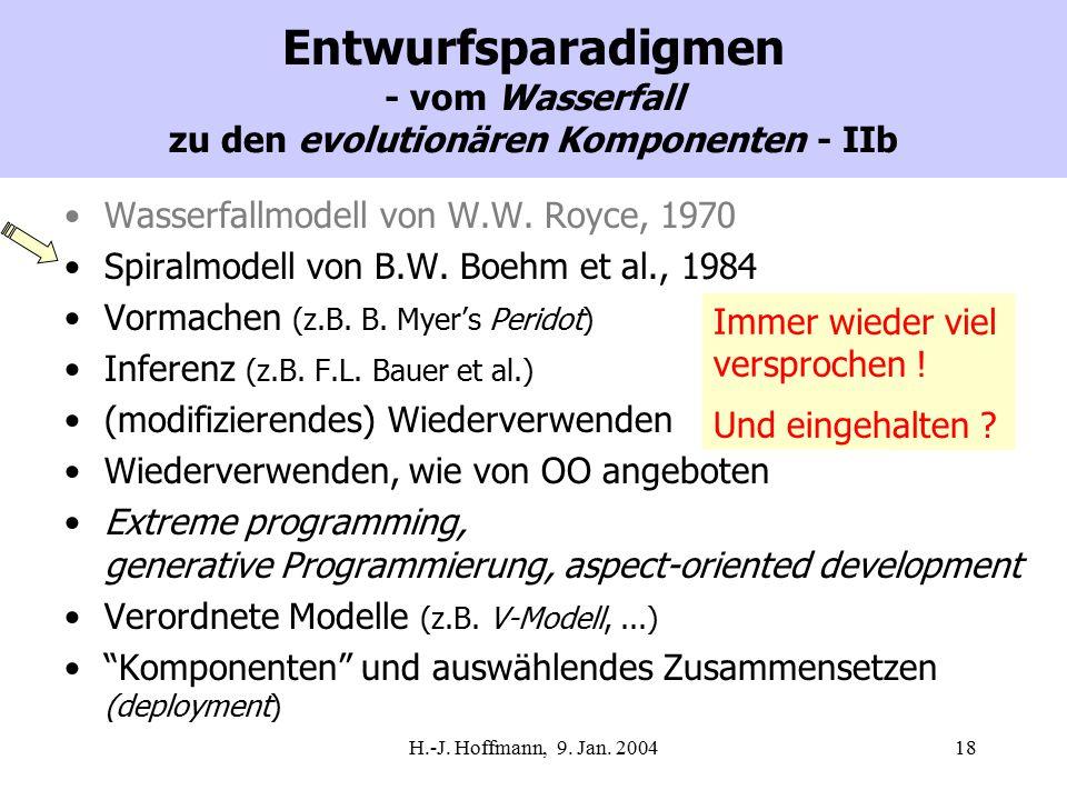 H.-J. Hoffmann, 9. Jan. 200418 Entwurfsparadigmen - vom Wasserfall zu den evolutionären Komponenten - IIb Wasserfallmodell von W.W. Royce, 1970 Spiral