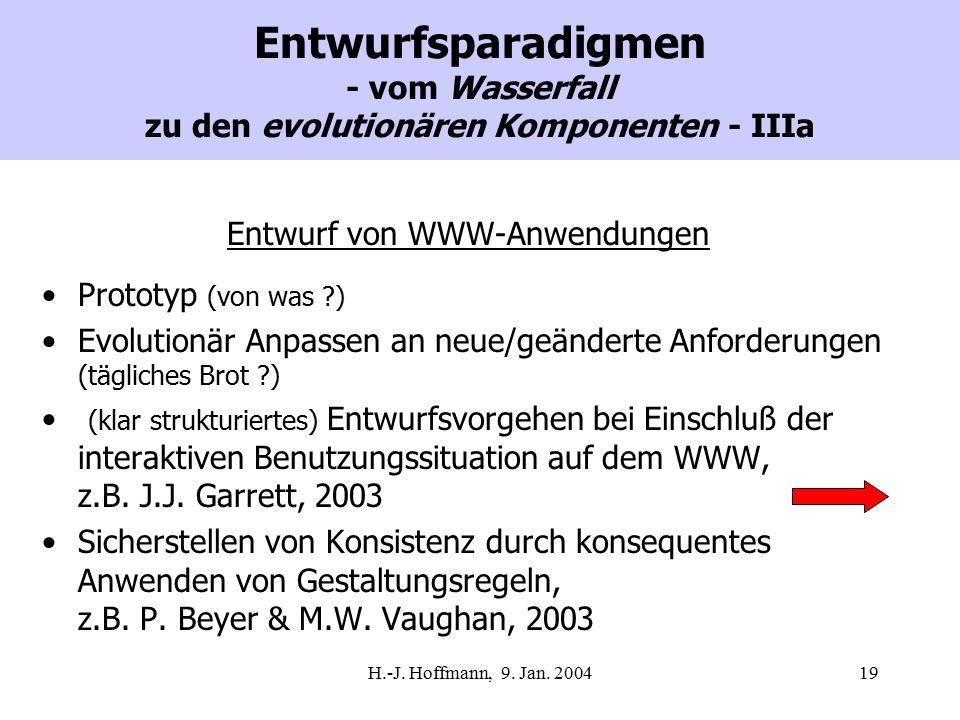 H.-J. Hoffmann, 9. Jan. 200419 Entwurfsparadigmen - vom Wasserfall zu den evolutionären Komponenten - IIIa Entwurf von WWW-Anwendungen Prototyp (von w