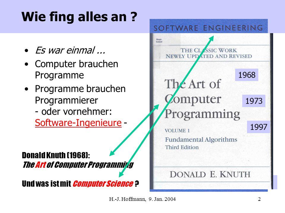 H.-J.Hoffmann, 9. Jan. 200483 Versuch einer Zusammenfassung I Über was habe ich nicht gesprochen .