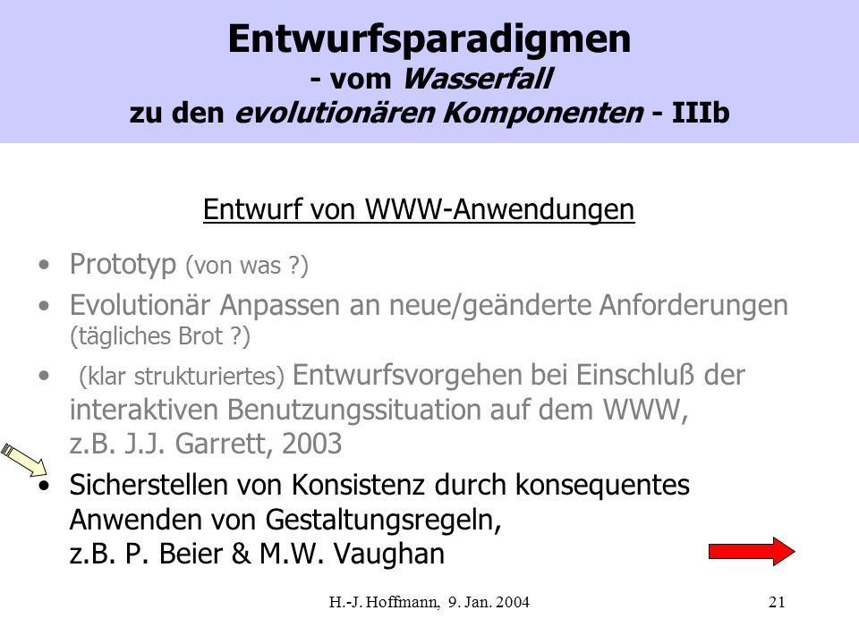 H.-J. Hoffmann, 9. Jan. 200421 Entwurfsparadigmen - vom Wasserfall zu den evolutionären Komponenten - IIIb Entwurf von WWW-Anwendungen Prototyp (von w