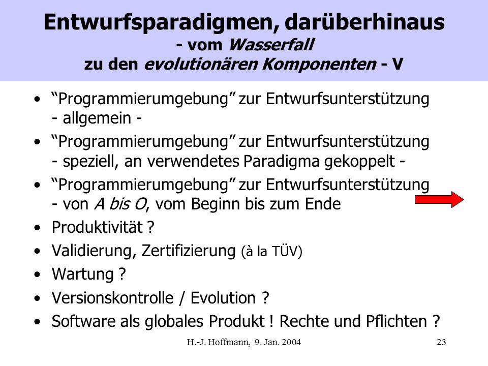 """H.-J. Hoffmann, 9. Jan. 200423 Entwurfsparadigmen, darüberhinaus - vom Wasserfall zu den evolutionären Komponenten - V """"Programmierumgebung"""" zur Entwu"""