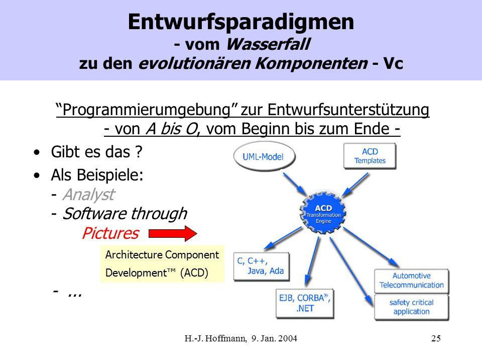 """H.-J. Hoffmann, 9. Jan. 200425 Entwurfsparadigmen - vom Wasserfall zu den evolutionären Komponenten - Vc """"Programmierumgebung"""" zur Entwurfsunterstützu"""