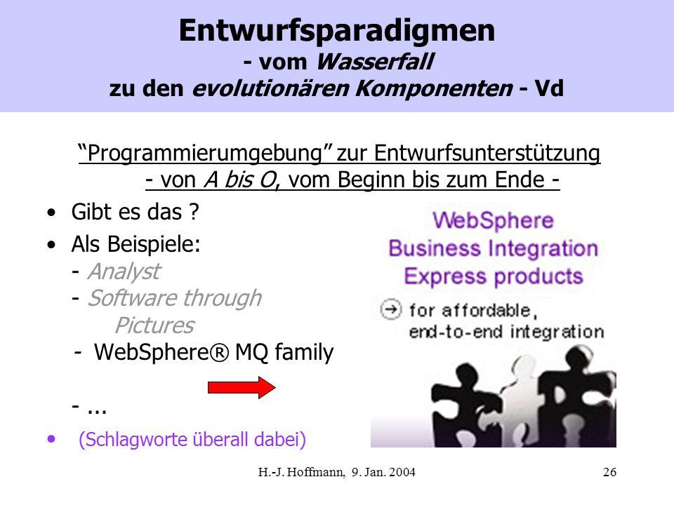 """H.-J. Hoffmann, 9. Jan. 200426 Entwurfsparadigmen - vom Wasserfall zu den evolutionären Komponenten - Vd """"Programmierumgebung"""" zur Entwurfsunterstützu"""