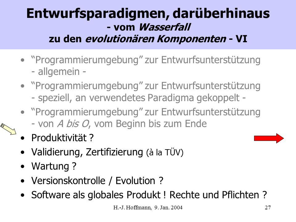 """H.-J. Hoffmann, 9. Jan. 200427 Entwurfsparadigmen, darüberhinaus - vom Wasserfall zu den evolutionären Komponenten - VI """"Programmierumgebung"""" zur Entw"""