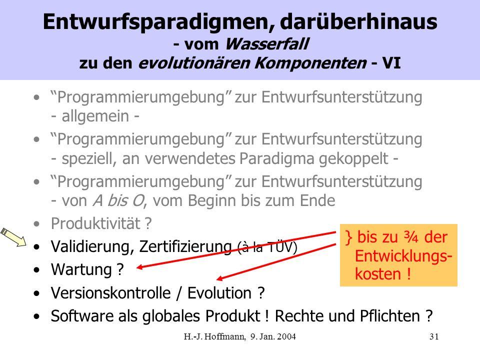 """H.-J. Hoffmann, 9. Jan. 200431 Entwurfsparadigmen, darüberhinaus - vom Wasserfall zu den evolutionären Komponenten - VI """"Programmierumgebung"""" zur Entw"""