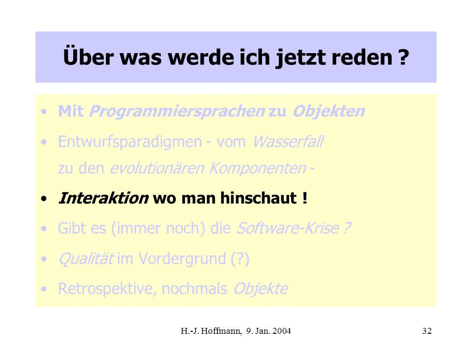 H.-J. Hoffmann, 9. Jan. 200432 Über was werde ich jetzt reden .