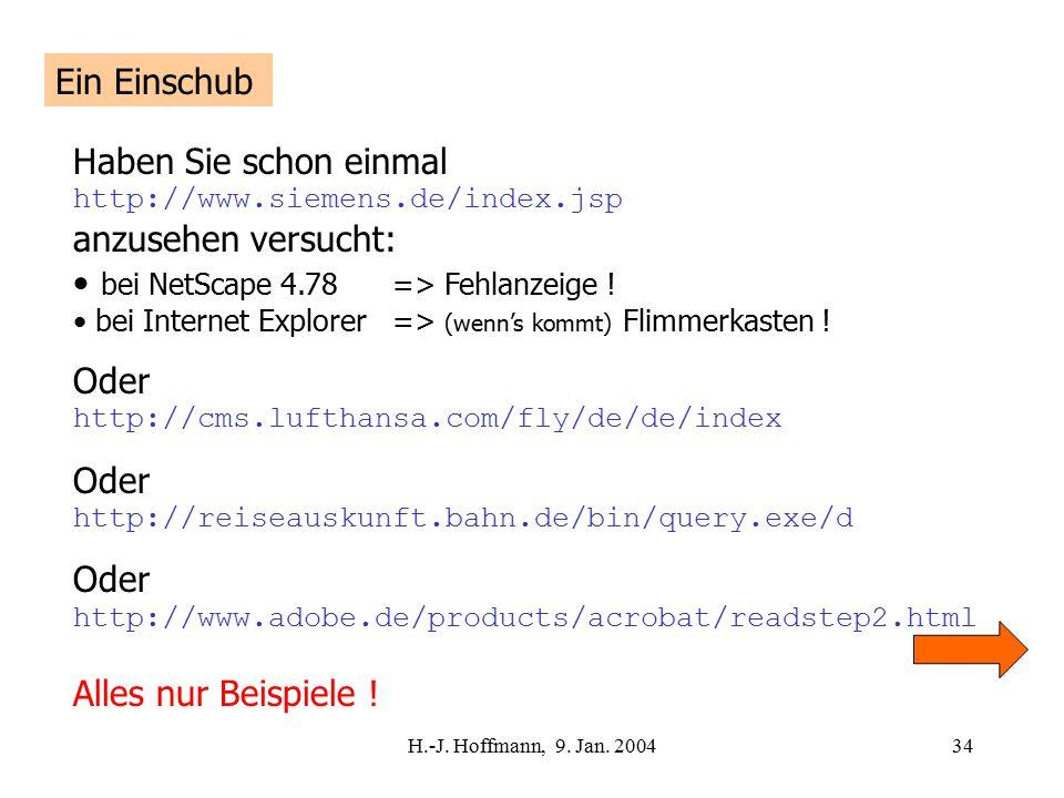 H.-J. Hoffmann, 9. Jan. 200434 Haben Sie schon einmal http://www.siemens.de/index.jsp anzusehen versucht: bei NetScape 4.78=> Fehlanzeige ! bei Intern