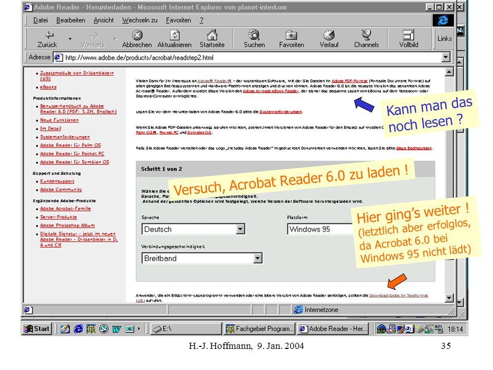 H.-J. Hoffmann, 9. Jan. 200435 Hier ging's weiter .