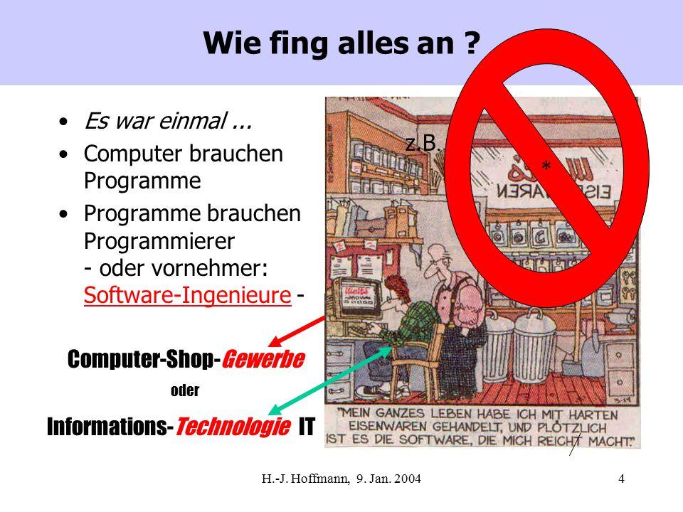 H.-J.Hoffmann, 9. Jan. 20045 Über was will ich (ernster) reden .