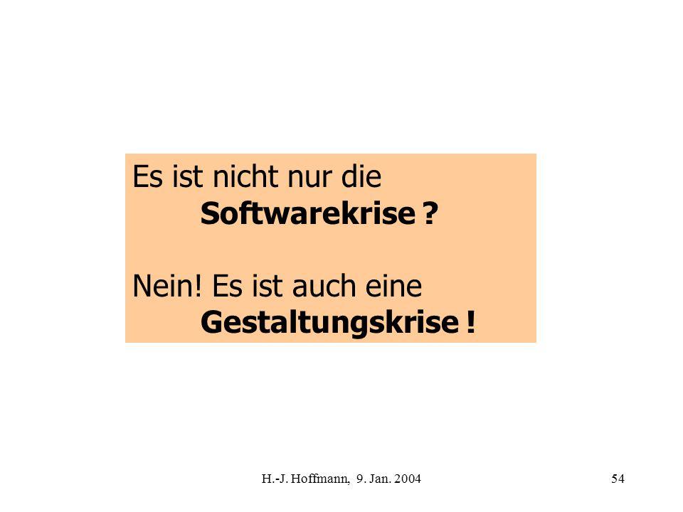 H.-J. Hoffmann, 9. Jan. 200454 Es ist nicht nur die Softwarekrise .