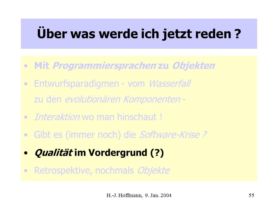 H.-J. Hoffmann, 9. Jan. 200455 Über was werde ich jetzt reden .