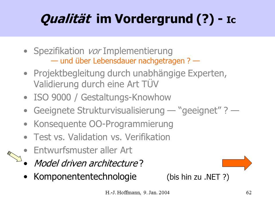 H.-J. Hoffmann, 9. Jan. 200462 Qualität im Vordergrund (?) - Ic Spezifikation vor Implementierung — und über Lebensdauer nachgetragen ? — Projektbegle