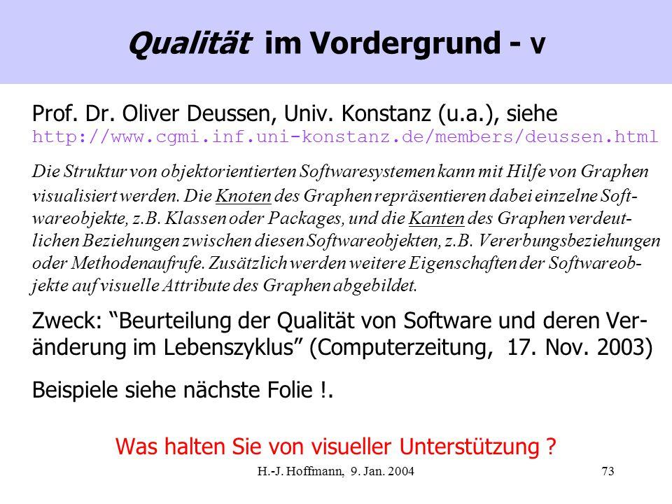 H.-J. Hoffmann, 9. Jan. 200473 Qualität im Vordergrund - V Prof.