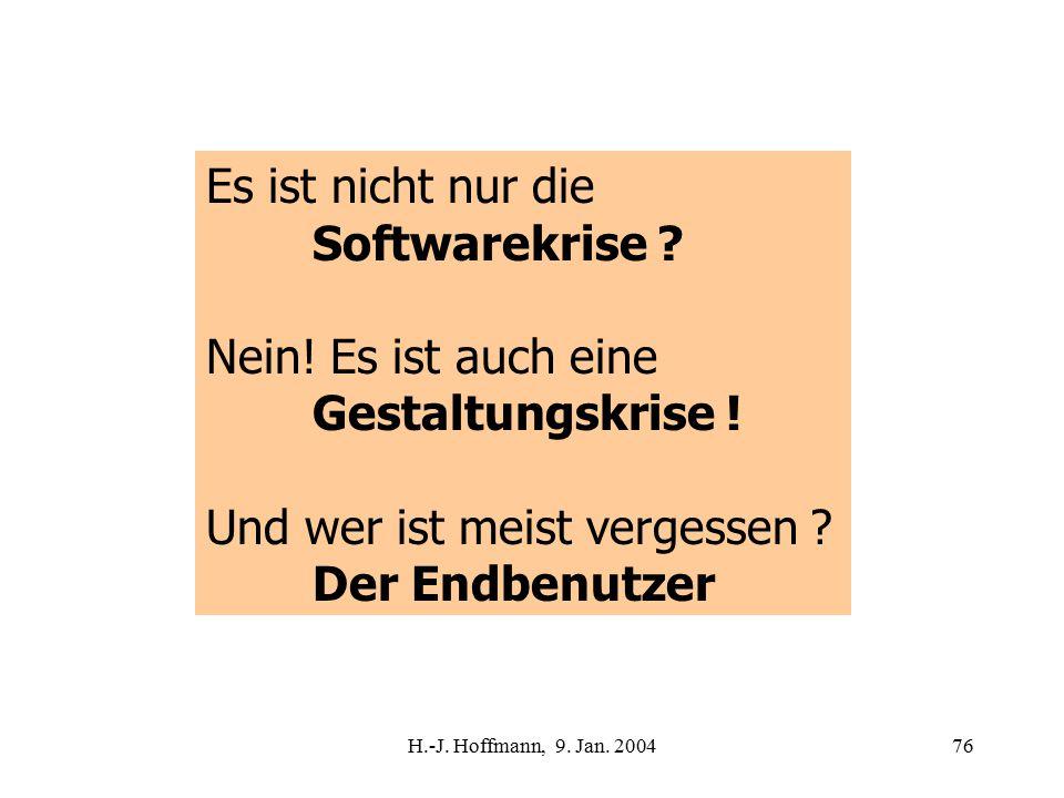 H.-J. Hoffmann, 9. Jan. 200476 Es ist nicht nur die Softwarekrise .