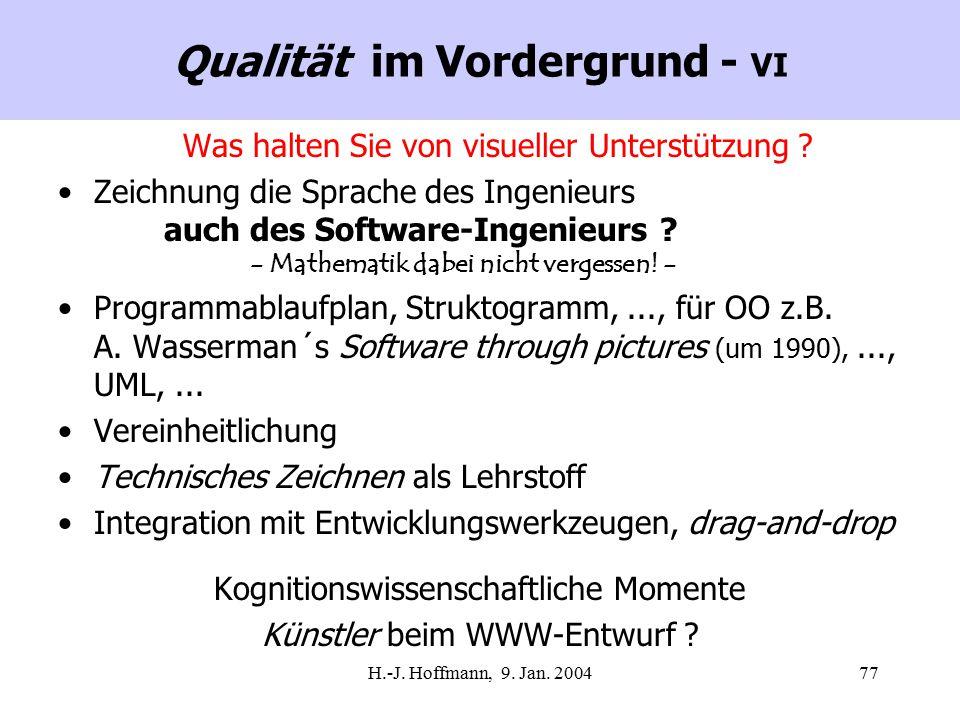 H.-J. Hoffmann, 9. Jan. 200477 Qualität im Vordergrund - VI Was halten Sie von visueller Unterstützung ? Zeichnung die Sprache des Ingenieurs auch des