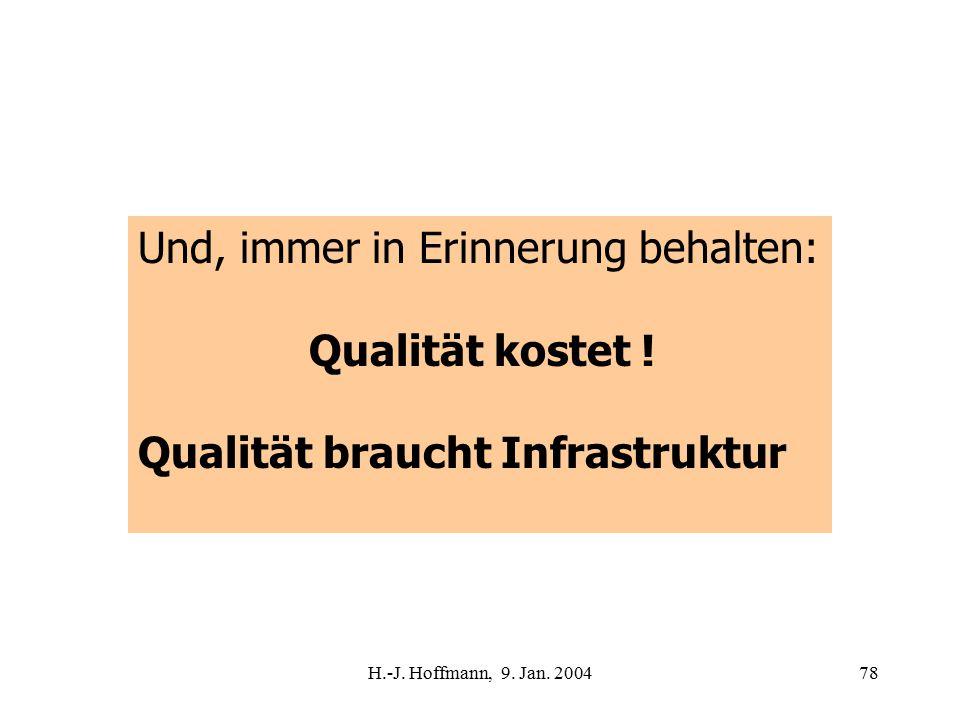 H.-J. Hoffmann, 9. Jan. 200478 Und, immer in Erinnerung behalten: Qualität kostet .
