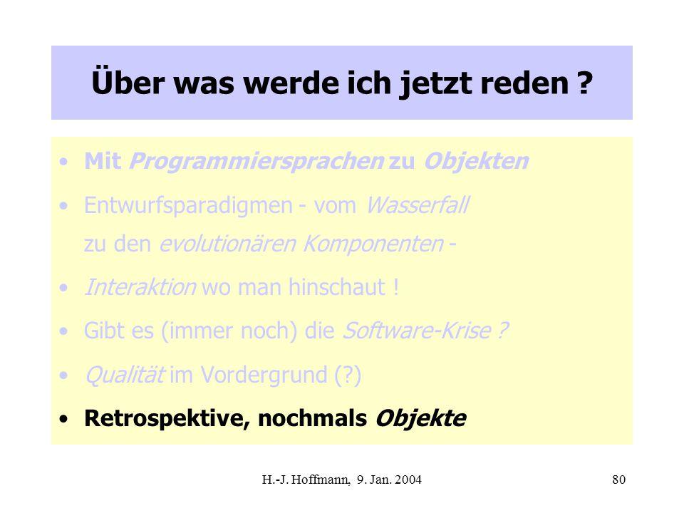 H.-J. Hoffmann, 9. Jan. 200480 Über was werde ich jetzt reden .