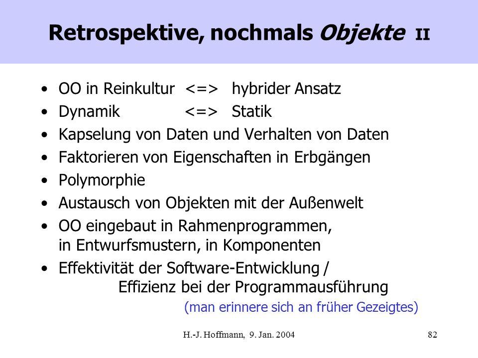 H.-J. Hoffmann, 9. Jan. 200482 Retrospektive, nochmals Objekte II OO in Reinkultur hybrider Ansatz Dynamik Statik Kapselung von Daten und Verhalten vo