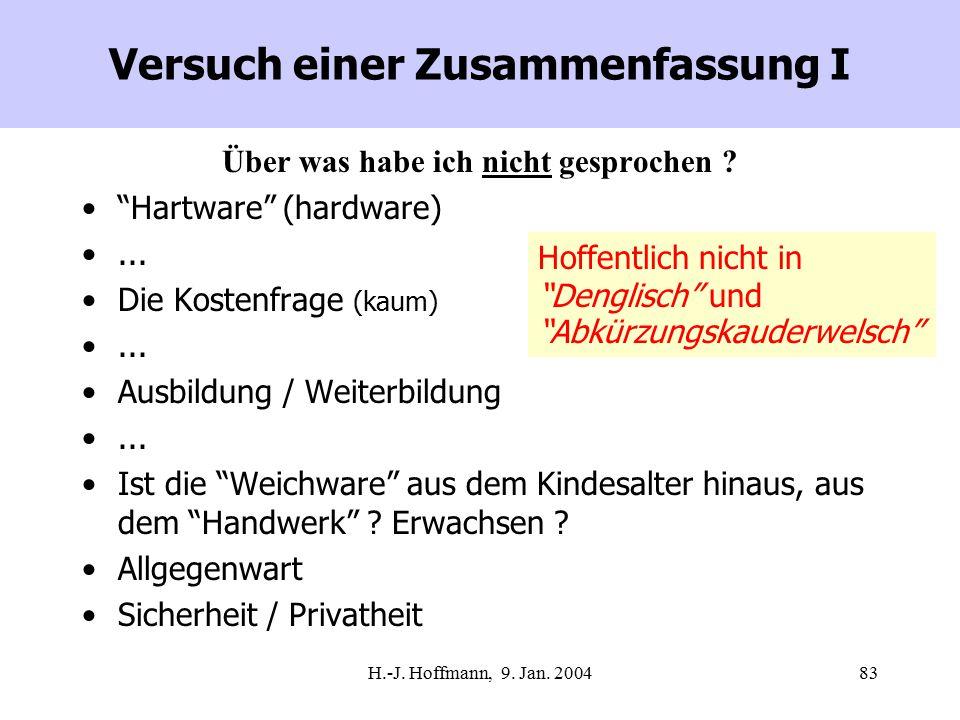 """H.-J. Hoffmann, 9. Jan. 200483 Versuch einer Zusammenfassung I Über was habe ich nicht gesprochen ? """"Hartware"""" (hardware)... Die Kostenfrage (kaum)..."""