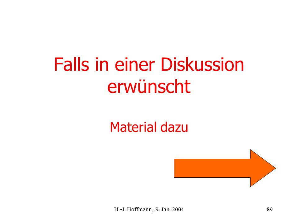 H.-J. Hoffmann, 9. Jan. 200489 Falls in einer Diskussion erwünscht Material dazu