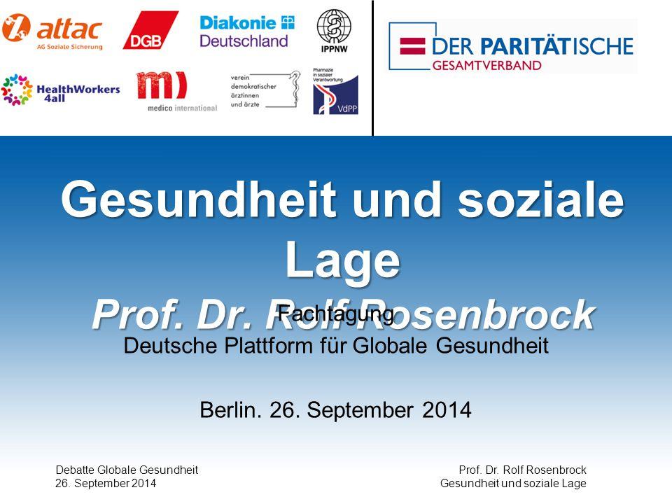 Gesundheit und soziale Lage Prof. Dr. Rolf Rosenbrock Fachtagung Deutsche Plattform für Globale Gesundheit Berlin. 26. September 2014 Debatte Globale