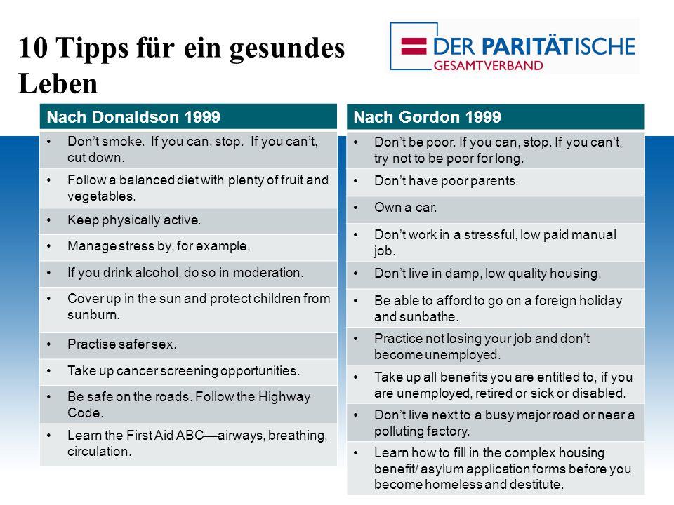 10 Tipps für ein gesundes Leben Prof. Dr. Rolf Rosenbrock Gesundheit und soziale Lage Nach Donaldson 1999 Don't smoke. If you can, stop. If you can't,