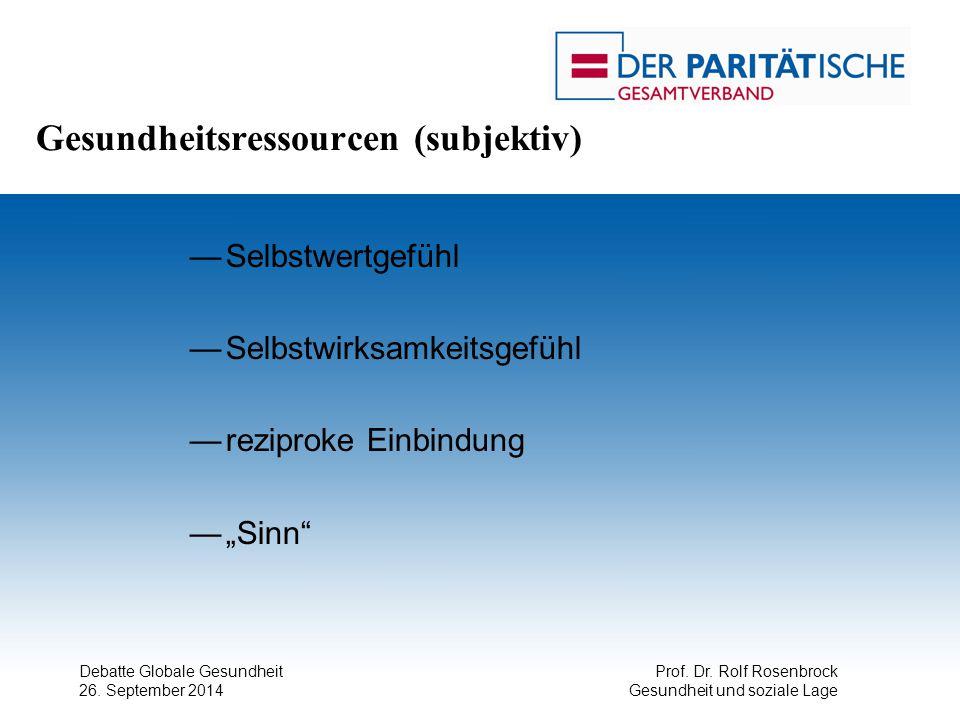 Debatte Globale Gesundheit 26. September 2014 Prof. Dr. Rolf Rosenbrock Gesundheit und soziale Lage Gesundheitsressourcen (subjektiv) —Selbstwertgefüh