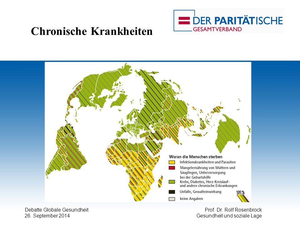 Debatte Globale Gesundheit 26. September 2014 Prof. Dr. Rolf Rosenbrock Gesundheit und soziale Lage Chronische Krankheiten
