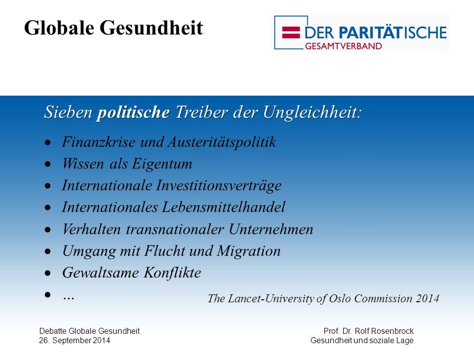 Debatte Globale Gesundheit 26. September 2014 Prof. Dr. Rolf Rosenbrock Gesundheit und soziale Lage Globale Gesundheit Sieben politische Treiber der U