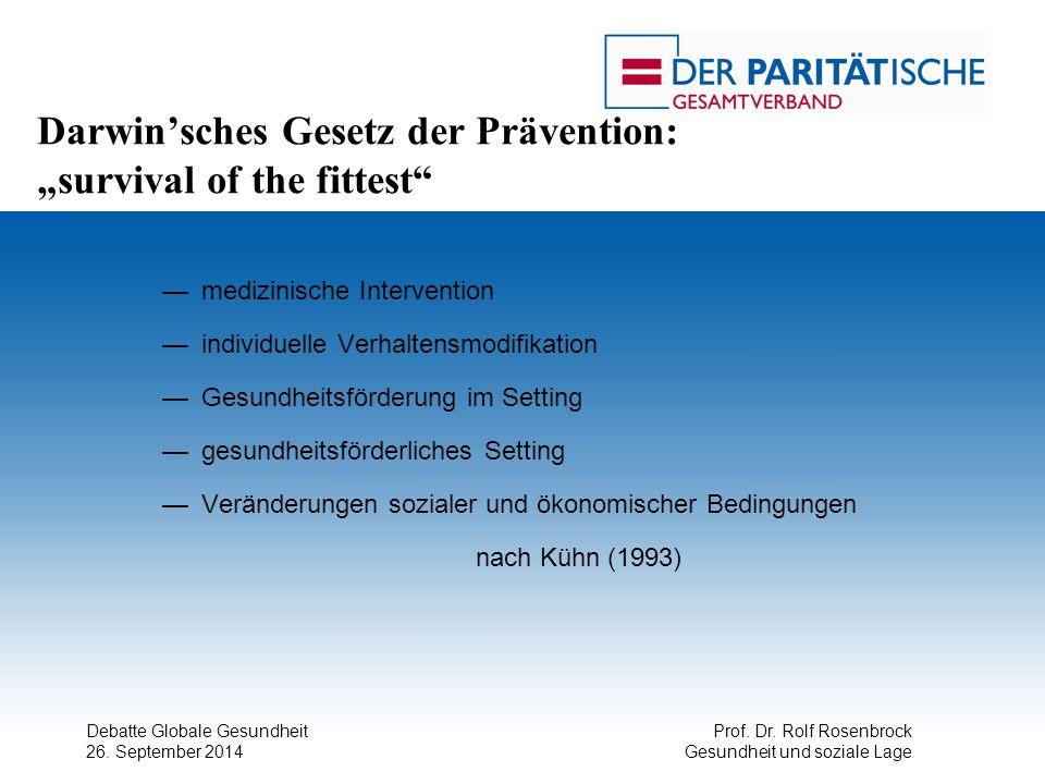 """Debatte Globale Gesundheit 26. September 2014 Prof. Dr. Rolf Rosenbrock Gesundheit und soziale Lage Darwin'sches Gesetz der Prävention: """"survival of t"""