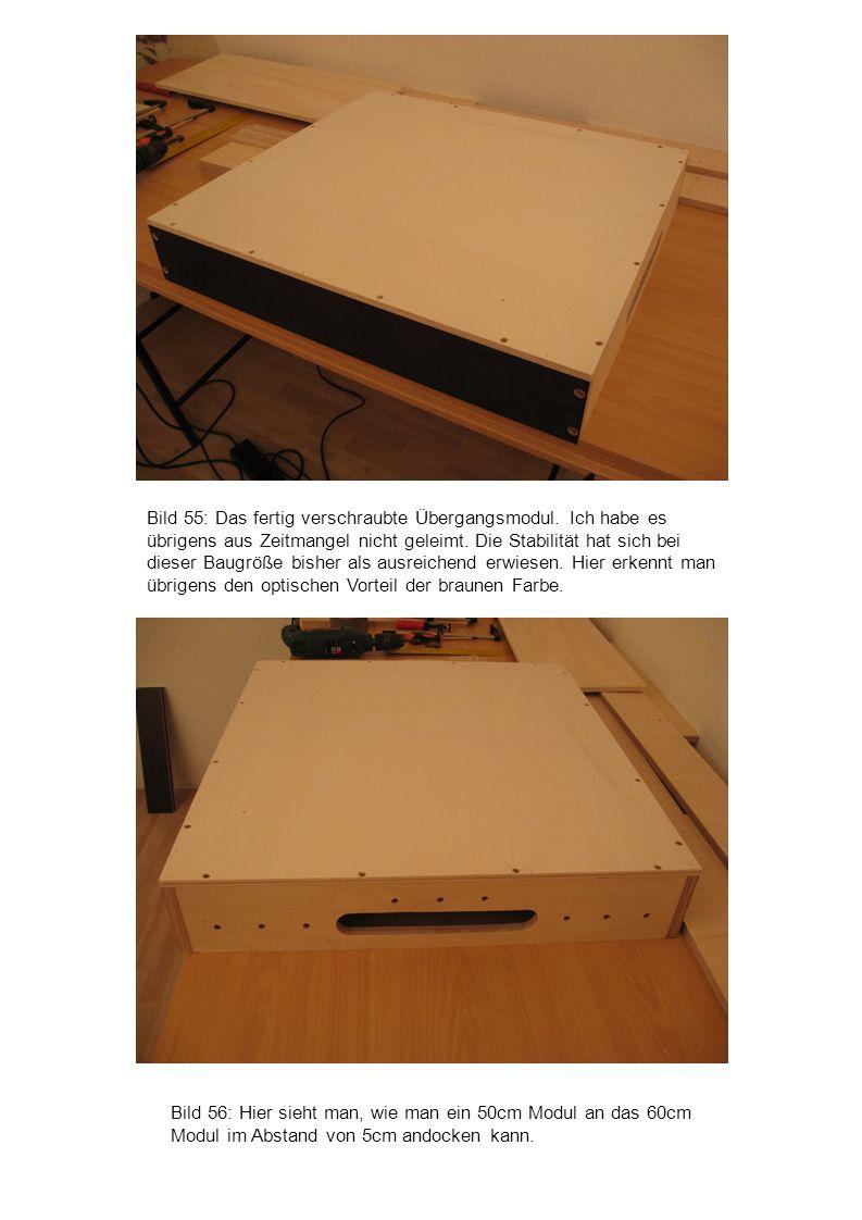 Bild 56: Hier sieht man, wie man ein 50cm Modul an das 60cm Modul im Abstand von 5cm andocken kann. Bild 55: Das fertig verschraubte Übergangsmodul. I