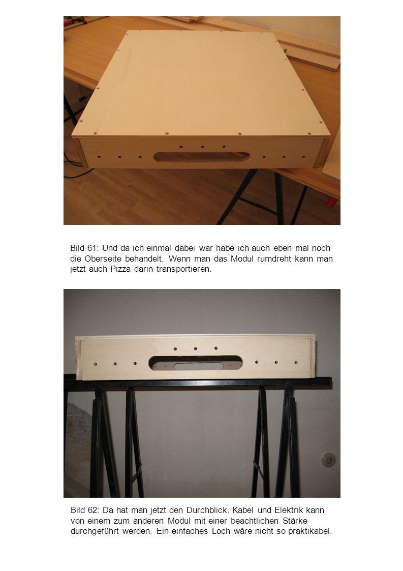 Bild 62: Da hat man jetzt den Durchblick. Kabel und Elektrik kann von einem zum anderen Modul mit einer beachtlichen Stärke durchgeführt werden. Ein e
