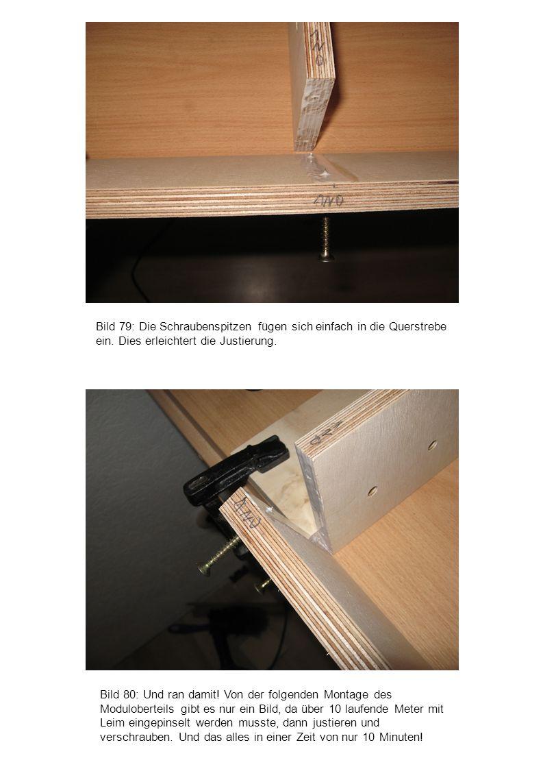 Bild 80: Und ran damit! Von der folgenden Montage des Moduloberteils gibt es nur ein Bild, da über 10 laufende Meter mit Leim eingepinselt werden muss