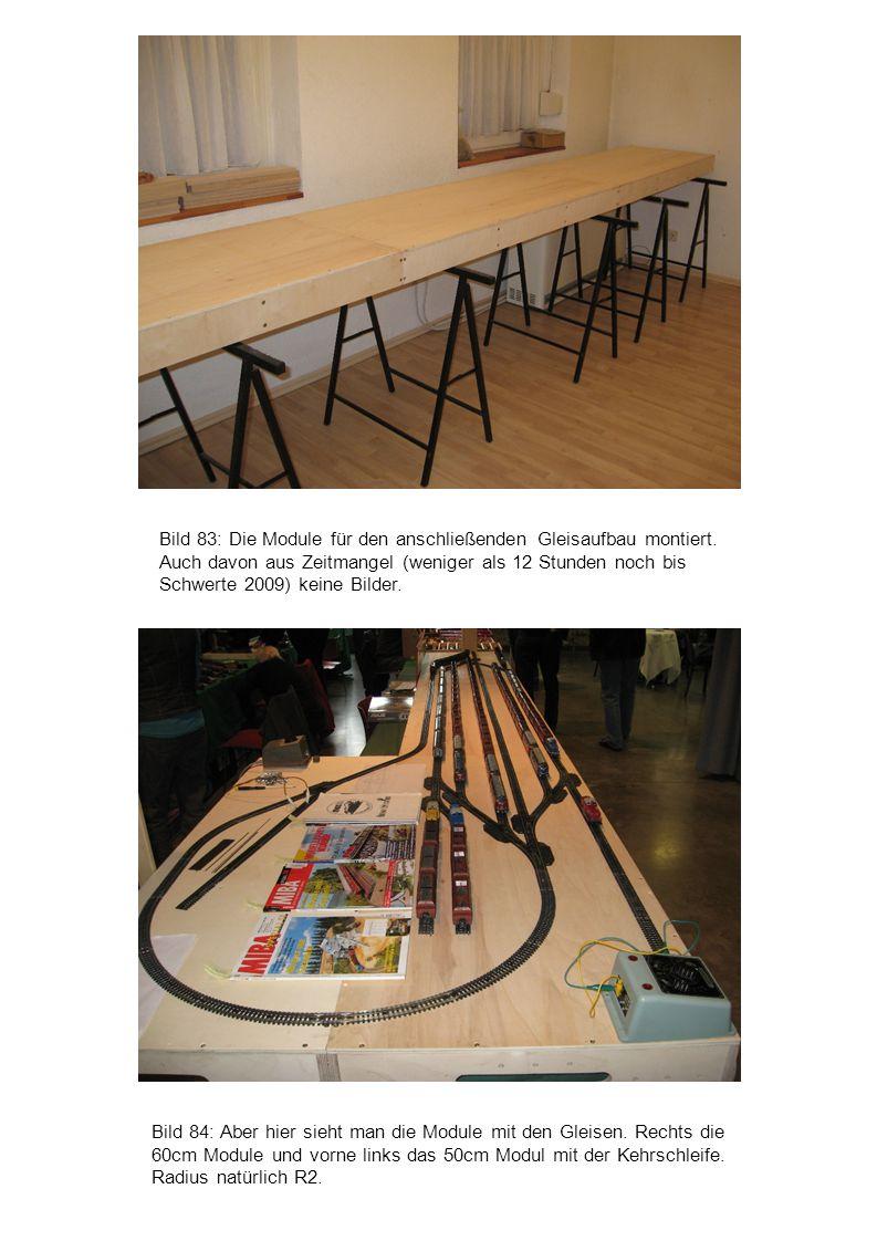 Bild 84: Aber hier sieht man die Module mit den Gleisen. Rechts die 60cm Module und vorne links das 50cm Modul mit der Kehrschleife. Radius natürlich