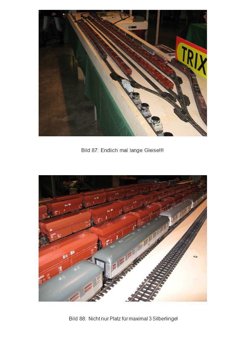 Bild 88: Nicht nur Platz für maximal 3 Silberlinge! Bild 87: Endlich mal lange Gleise!!!